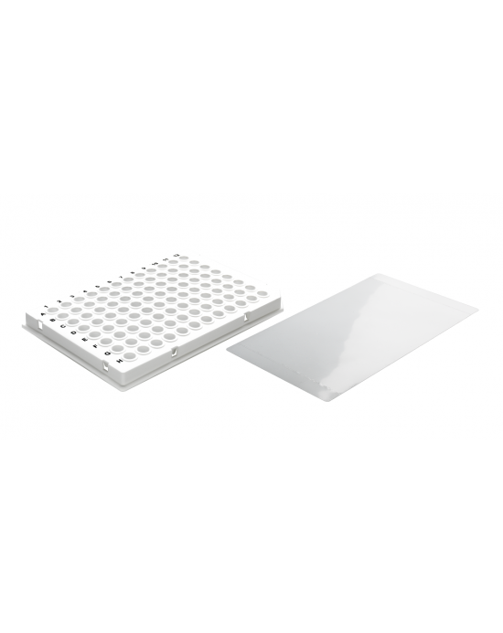 96-well qPCR-plate white, low profile, semi-skrited &self-adhesive sealing film, 50plates/case